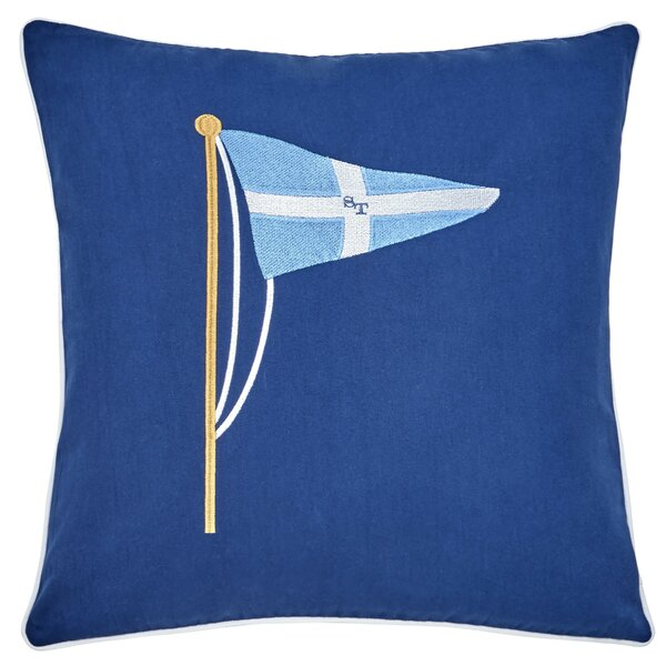 Yacht Club Embroidered Pennant 100% Cotton Throw Pillow by Southern Tide